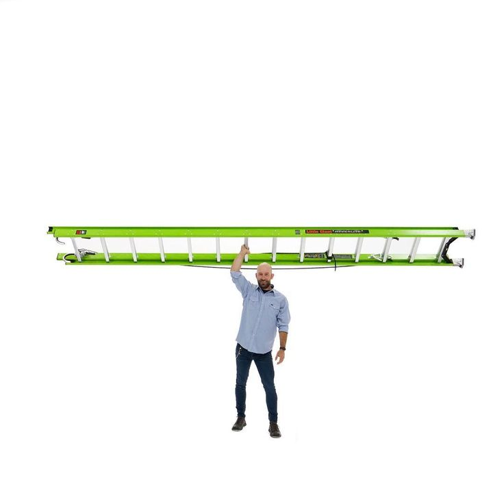 The new #LeanMeanHiVizGreen Little Giant HyperLite is the lightest industrial-grade fiberglass extension ladder in the world bar none.  The patent-pending HyperLite weighs 20-40% less than any comparable fiberglass ladder without sacrificing strength and stability. Little Giants unique side-mounted dual-pulley system reduces the effort required to lift the fly section by 45% and removes a potential trip hazard caused by traditional center-pulley rope systems. The patent-pending Sure-Set foot…