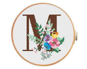 Botanical letter «M» - cross stitch pattern - letter M alphbet personalized wedding birth announcement flowers spring botanical initial *265