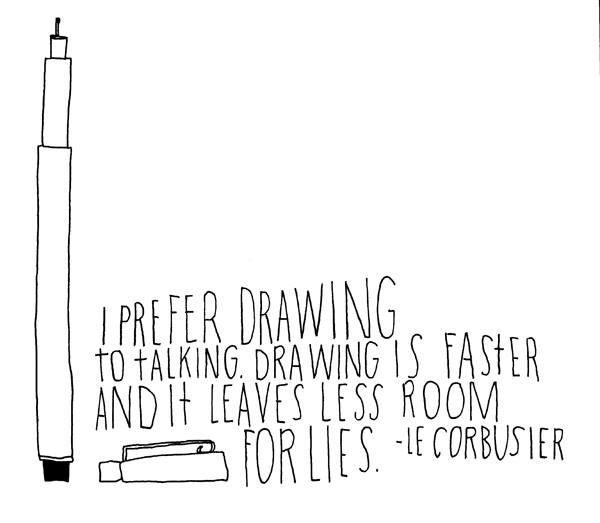 """""""Prefiero dibujar a hablar. El dibujo es más rápido y deja menos espacio para la mentira"""" Le Corbusier."""