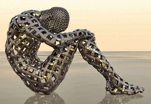 Metal sculpture of human form, amazing!