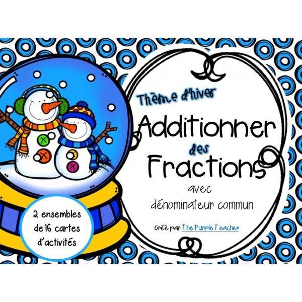 Cartes d'activités : Additionner des fractions