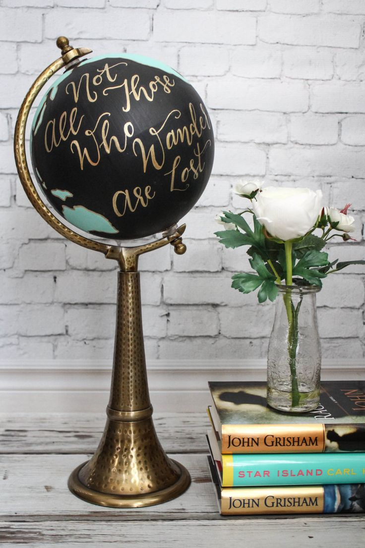 Not All Those Who Wander Are Lost - Large, Black and Turquoise, Hand-Painted Globe, Calligraphy, Gold, World Globe by SimplyGypsyDesigns on Etsy