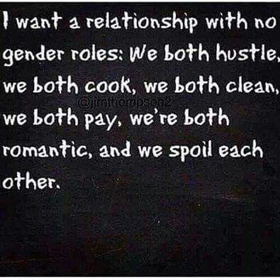 Which works out just well with me and my girlfriend since we're both women. We won't succumb to forced gender roles. I know some lesbian couples take up each role, but we're both femme and we don't give a damn. She's more femme and more dominant. I don't mind. I can go from butch to femme to lipstick lesbian. It's all fine with me.