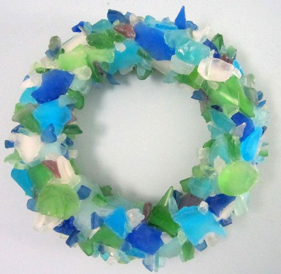 Beach Decor Sea Glass Wreath - Beach Glass Wreath, Bright Mix OR Choose Your Colors