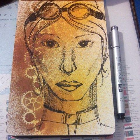 Spray ink, stencil and pen