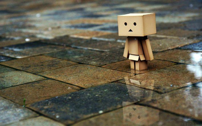 Download wallpapers Danbo, rain, cardboard robot, danboard box