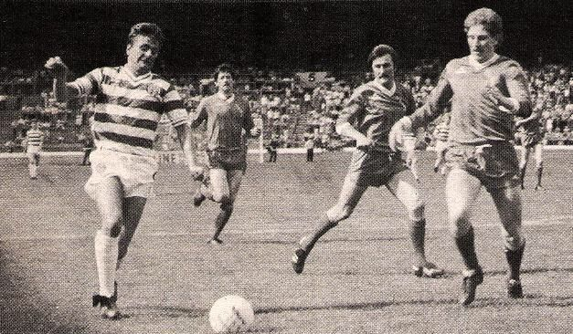 Celtic 0 Brechin City 0 (1-0 agg) in Aug 1983 at Parkhead. Jim Dobbin comes forward for Celtic in the League Cup 2nd Round, 2nd Leg.