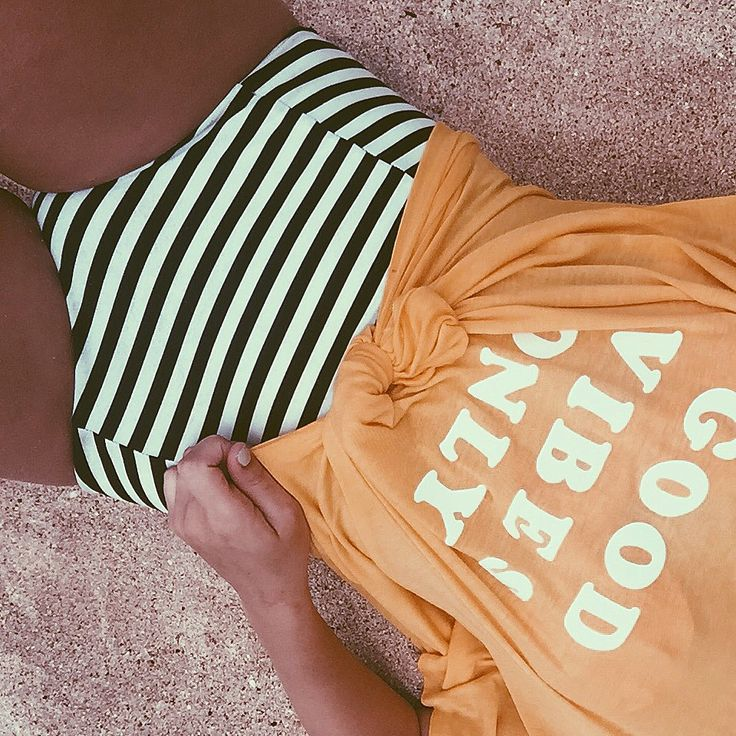 Good Vibes Only Tee // @chanroberson // Days of Chandler Blog // beach outfit, summer outfit, beach, yellow, graphic tee, stripes, striped Swimsuit, high waisted suit, Hawaii, Hawaii outfit.