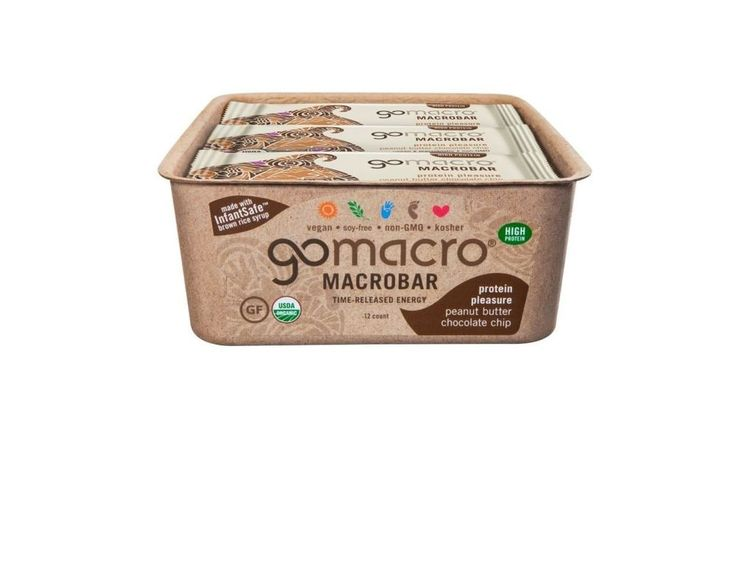 Protein Bar Peanut Butter and Chocolate Chip 2.4oz Pack of 12 Organic Vegan Food #GoMacro