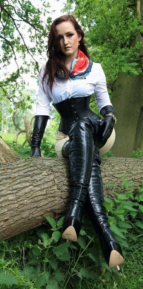 Emily bondage strap low platform thigh high gothic boot