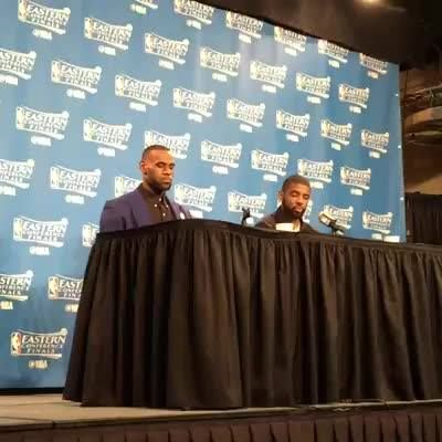 LeBron James & Kyrie Irving address the media following tonight's Cleveland Cavaliers win.