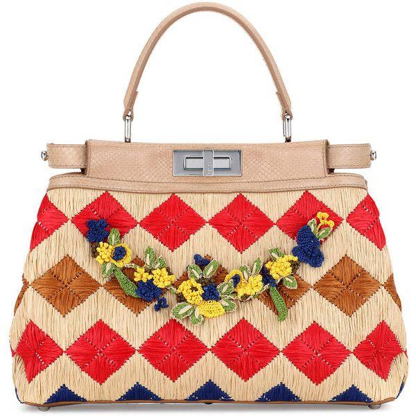 Fendi Peekaboo Medium Floral Raffia Satchel Bag (27,060 MYR) ❤ liked on Polyvore featuring bags, handbags, turn lock satchel, fendi purses, handle satchel, floral satchel handbags and satchel bag