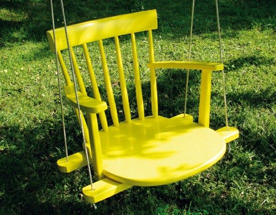 another repurpose: Backyard Ideas, Rocks Chairs, Chairs Swings, Chair Swing, Trees Swings, Old Chairs, Porches Swings, Backyardidea, Outdoor Swings