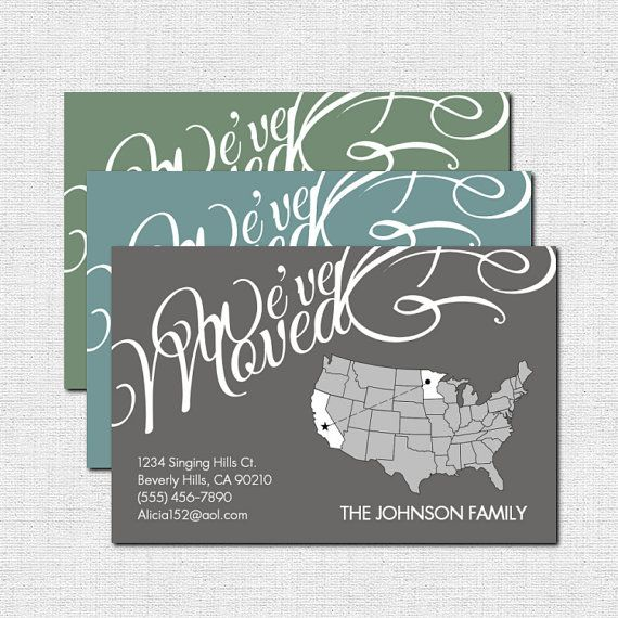 If we ever move out of state! LOVE! MOVING ANNOUNCEMENT Change of Address - Modern United States Design (print your own) Personalized