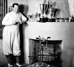Oliver Hardy at home with his golf trophies (via Stan_And_Ollie) http://ift.tt/1QC7TUT