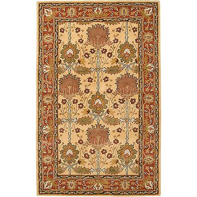 Hand Tufted Gold Bordered Novelty Pipe New Zealand Wool Rug 5' x 8' | eBay 153.
