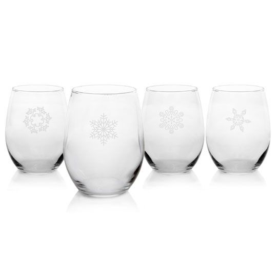 A perfect additional to your holiday table or home bar. Snowflake Stemless Wine Glasses (Set of 4) #annaslinens