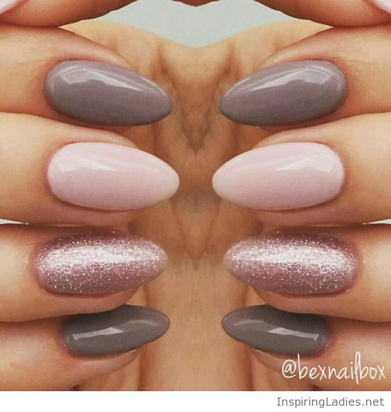 My lovely gel nails ith pink and grey   Inspiring Ladies