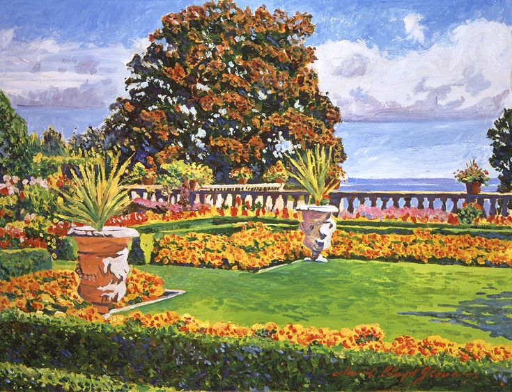 David Lloyd Glover (b.1949) —  Italian Gardens Ocean View, 2013    (900x689)