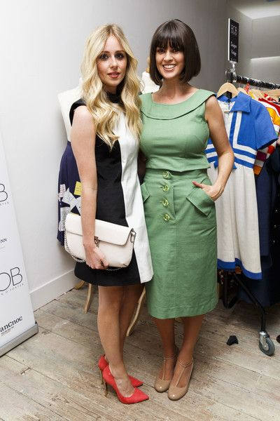 Diana VIckers looks gorgeous in our #coral Idolise #heels with Dawn O'Porter at her #vintage pop-up shop launch.