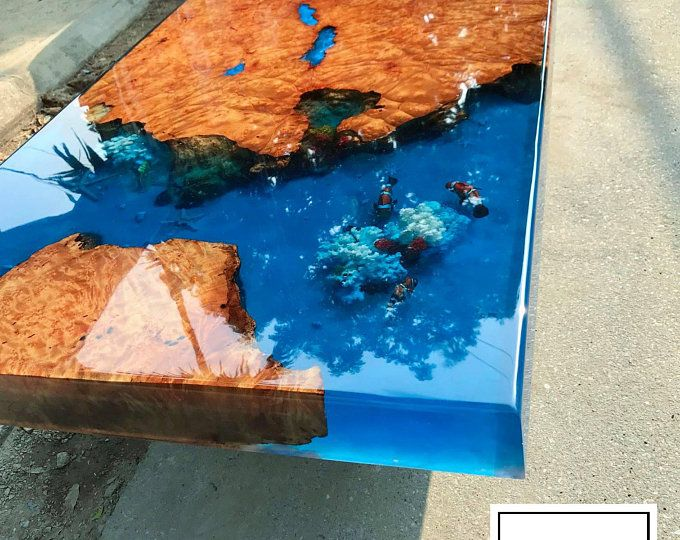 Epoxy Resin Transparent Coffee Table Handcrafted Custom 3d