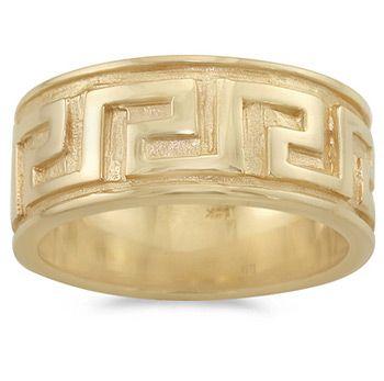 Men S Wedding Ring Geometrical Design Greek Key 14k Yellow Gold 9 5mm