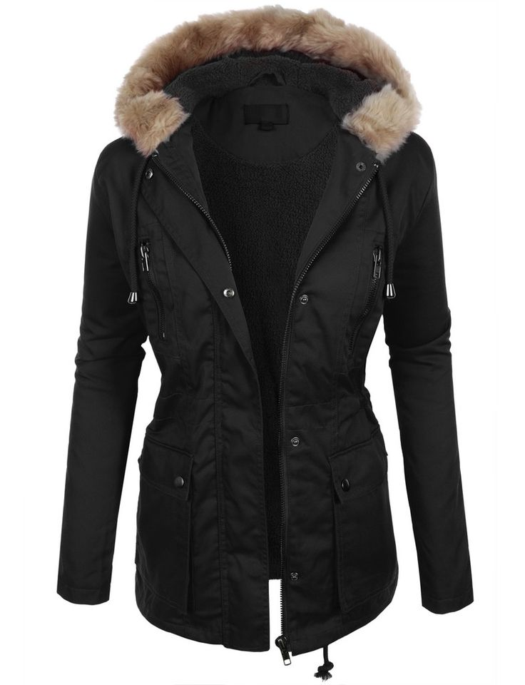 LE3NO Womens Sherpa Fleece Anorak Jacket with Drawstring Waist