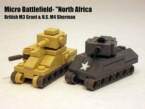 Micro Armour (size comparison)- British M3 Grant & U.S. M4 Sherman.