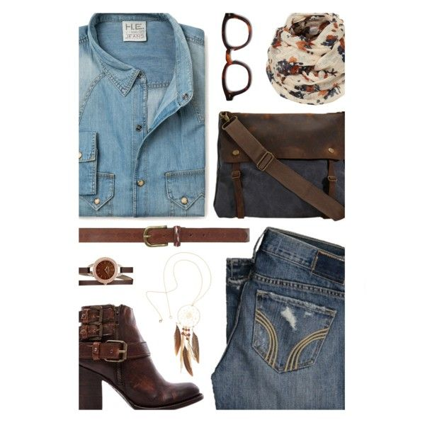 Double Denim by kearalachelle on Polyvore featuring moda, MANGO, Steven by Steve Madden, Caravelle by Bulova, H&M, Dorothy Perkins and Hollister Co.