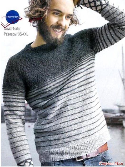 Мужской пуловер от дизайнера Susanna Mertsalmi в моем исполнении.
