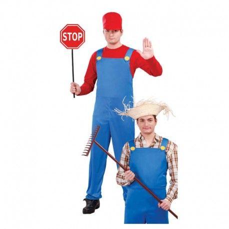 Disfraces Personajes | Disfraz de Mario. Un peto azul, camiseta roja, una gorra y un buen mostacho. ¿A quién te recuerda? ¡Sí!, es Mario Bros. Aunque también puedes ser un maquinista o un granjero. Compuesto de peto azul con camiseta incluida y gorra. Talla M/L. 17,95€ #mariobros #maquinista #granjero #disfrazmariobros #disfrazmaquinista #disfrazgranjero #disfraz #disfrazpersonaje #disfraces