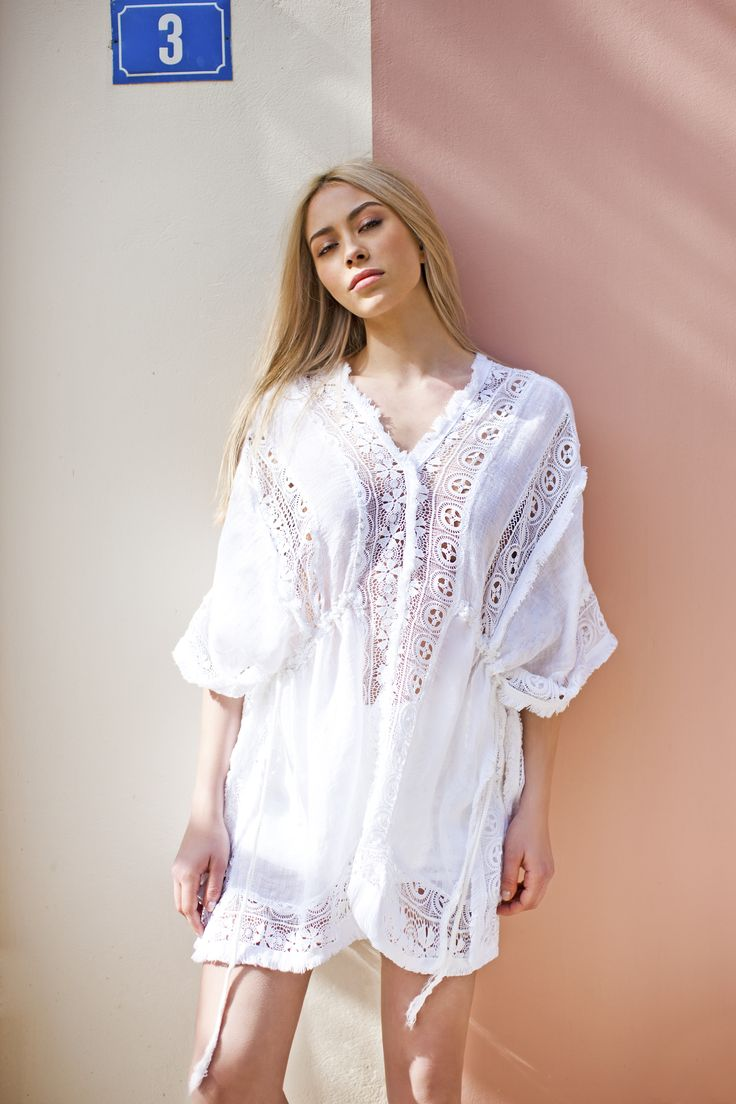 Haris Cotton, Linen Gauze with Cotton Lace Poncho   868 White