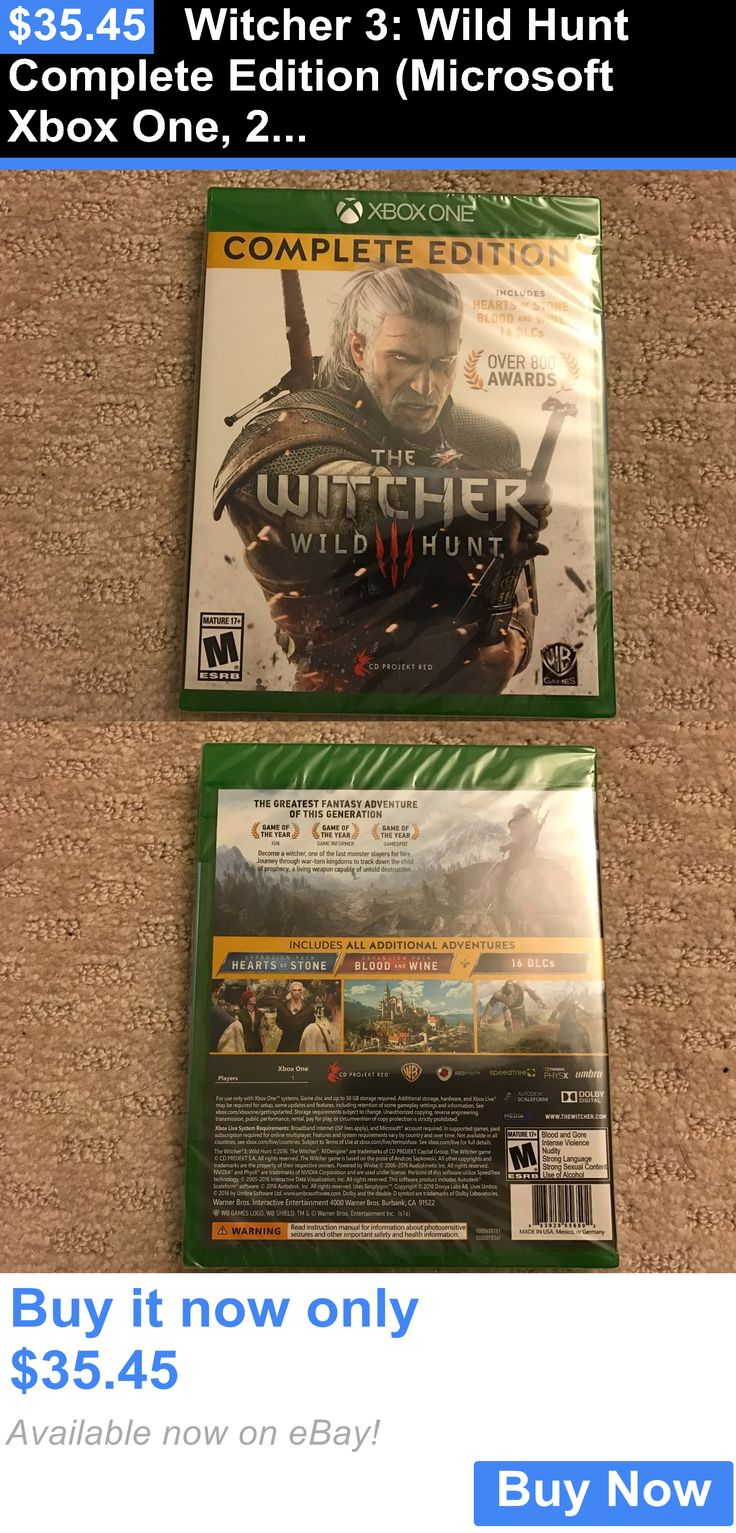Video Gaming: Witcher 3: Wild Hunt Complete Edition (Microsoft Xbox One, 2016) New BUY IT NOW ONLY: $35.45