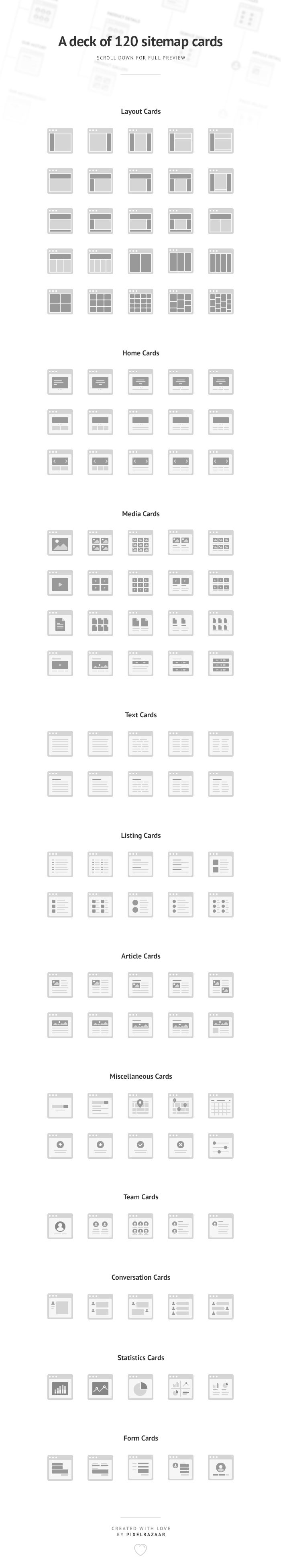 Purchase a deck of 120 sitemap cards created by Pixel Bazaar. Perfect for the visualization of user and website flow charts.