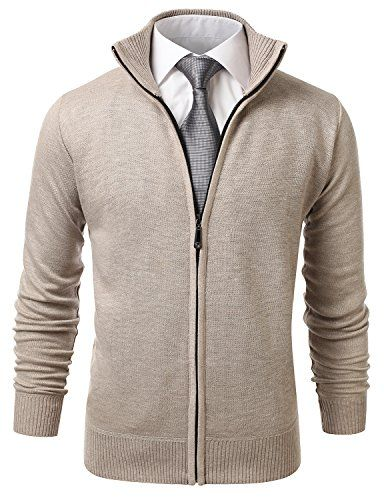 IDARBI Men's Long Sleeve Zip Up Sweater Jacket with Stand Up Collar | Smart Pinner