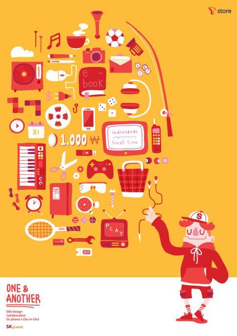 [ SNS 디자인 캠페인 One : T store ]   게임 15분 e북 32분 웹툰 7분 노래 한 곡 4분 30초 드라마 55분 너를 기다리는 지루함 1초  하나하나의 즐거움 모두 모여 편리한  모두의 콘텐츠 스토어 우리의 T store  SNS Design Campaign  SK planet x 차인철 #Design #Tstore #OneNAnother #SKplanet #Poster #InchulCha