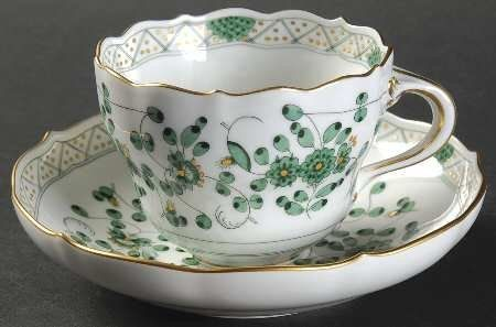 Meissen (Germany) 343310 Flat Cup & Saucer Set, Fine China Dinnerware from Meissen (Germany). Gorgeous Meissen.  B.