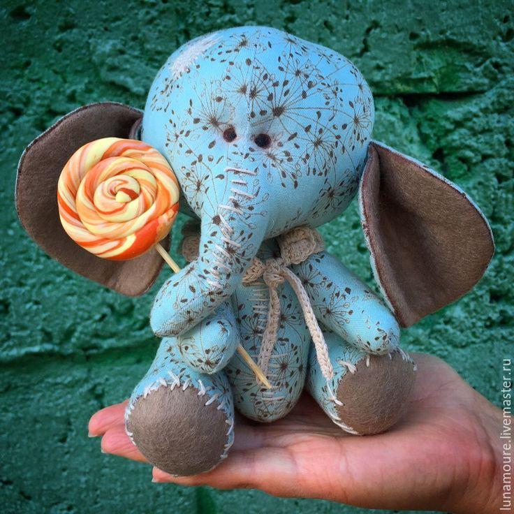 Купить Слоник Сластена - разноцветный, слоник, интерьерная кукла, интерьерная игрушка, текстильная игрушка