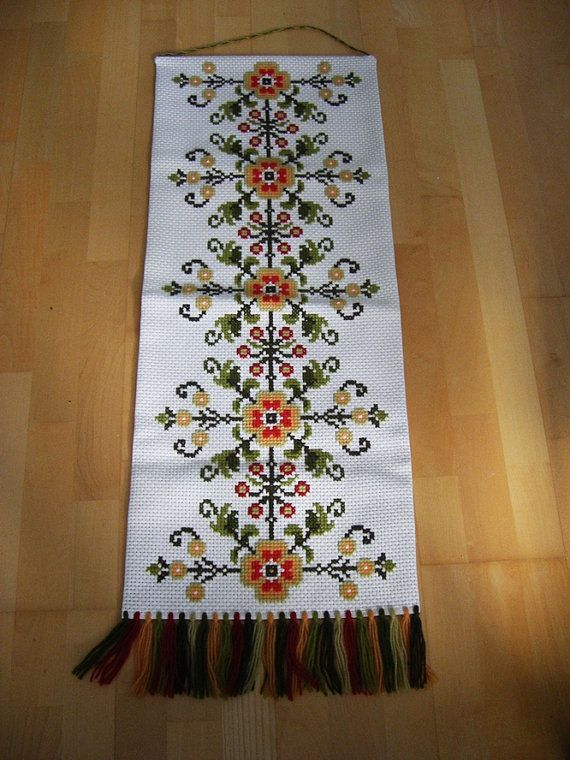 Folk Vintage Swedish Cross Stitch Wall Embroidery. Folk Art. Wall Decor. Scandinavian Wall Decor 1960s.