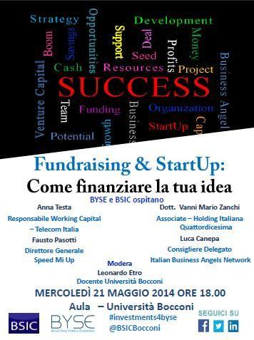 """Locandina """"Fundraising & StartUp: scopri come finanziare la tua idea"""""""