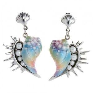 Seashell earrings - Porcelain Jewelry - Franz Porcelain - Pineapples and Palms Fine Art Gallery - Koloa, Kauai, Hawaii