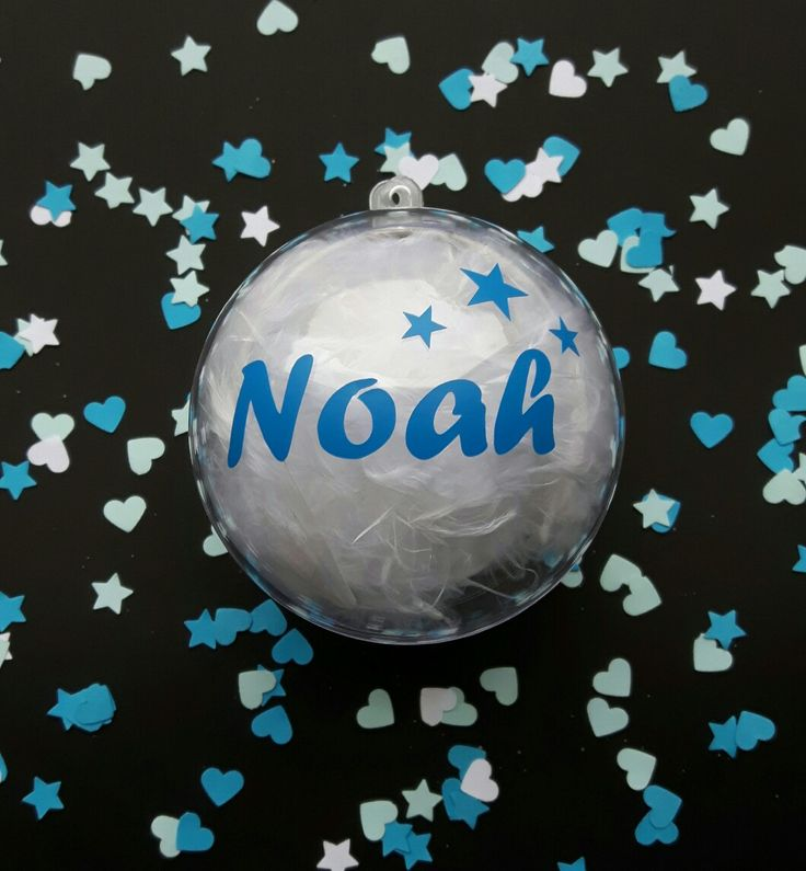Kerstbal met naam.  Verkrijgbaar bij www.kraamgifts.nl