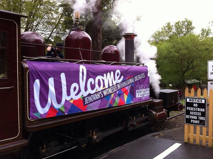 Melbourne International Convention of JW's; Oct. 2014 Some delegates from our hotel went on the puffing billy tour (historic steam train) yesterday. The whole train was booked by the brothers. Approximately 280 were on the train. Brothers waiting at all the stops with Welcome signs. The train had a huge banner on it! They were overwhelmed.