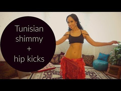 Free belly dance classes: Fun belly dance combination: Tunisian shimmy and hip kicks