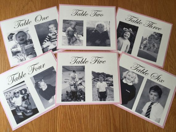 Photo Wedding Table Numbers, personalised baby photos, Wedding Table Plan 1-10 personalised table number cards photo numbers, photo names