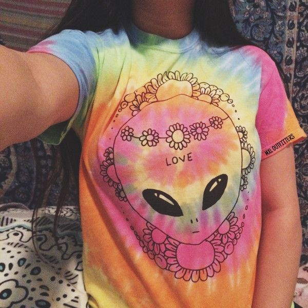 Tie Dye Hippie Flower Princess Alien T-Shirt ($24) ❤ liked on Polyvore featuring tops, t-shirts, grey, women's clothing, gray t shirt, tie dye t shirts, flower shirt, tie dyed shirts and gray shirt