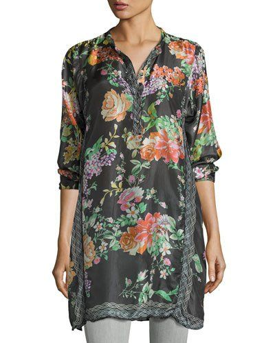 Camilla Long Floral-Print Silk Tunic, Plus Size