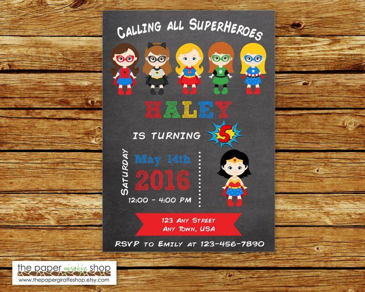 Superhero Invitation   Girls Superhero Party   Supergirl Party   Batgirl Party…