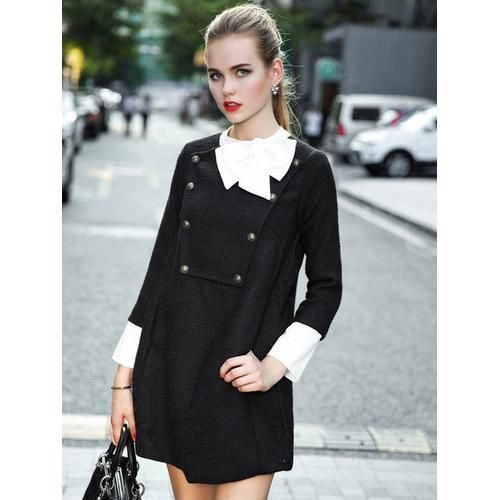 Black Contrast Bow Neck Long Sleeve Woolen A-line Dress D902-CGA1RG