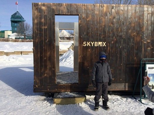 Skybox warming hut designed by University of Manitoba at the Forks in Winnipeg.